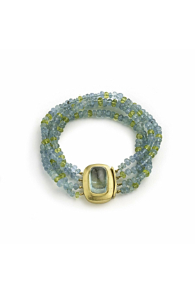 Four Stand Aquamarine and Peridot Bead Bracelet With Large 18kt Clasp With an Aquamarine Cabochon