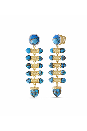 Yellow Gold Plated Silver Turquoise & Diamond Twisted Rays Dangle Earrings