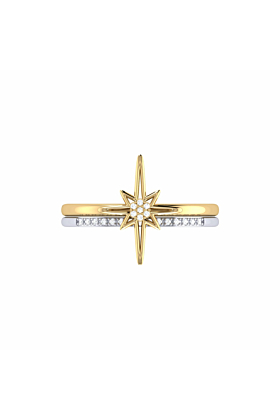 14kt Yellow Gold Plated Two-Tone North Star Detachable Ring
