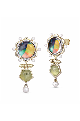 Yellow Gold Plated Silver Prehnite & Pearl Gypsy Soul Diamond Earrings