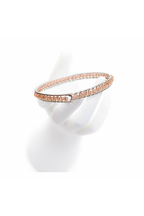Sterling Silver Light Peach Crystal Girdle Bangle