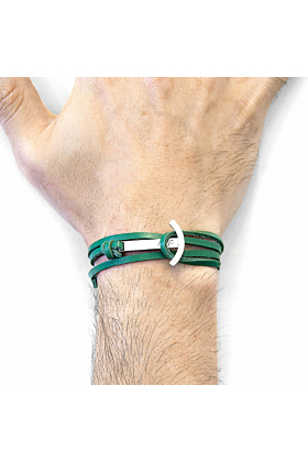 Fern Green Clipper Anchor Silver and Flat Leather Bracelet