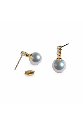Akoya Pearl Diamond Earrings - 7.0-7.5mm Pearls