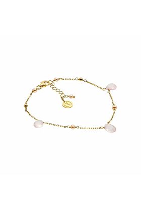 Yellow Gold Plated Silver Rose Quartz Cari Bracelet