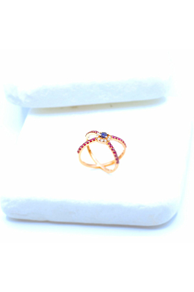 14kt Rose Gold Diamond, Ruby, & Sapphire Statement Ring