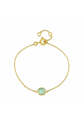 Yellow Gold Plated Brooklyn Aqua Chalcedony Bracelet