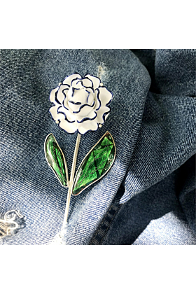 Sterling Silver White Lily Flower Brooch With Porcelain & Cloisonné Enamel