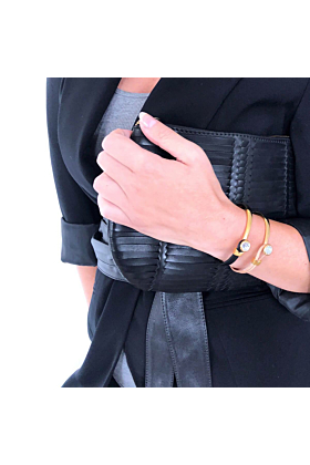 Poppy Black & Gold Leather Bracelet