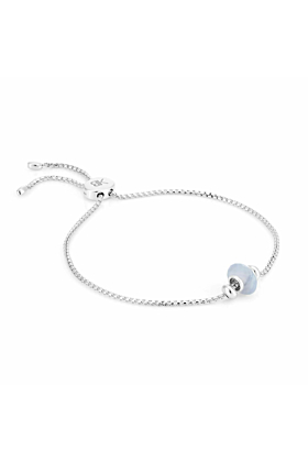 Sterling Silver Libbie Gemstone Charm Bracelet with Blue Lace Agate