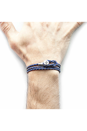 Royal Blue Dundee Silver and Braided Leather Bracelet