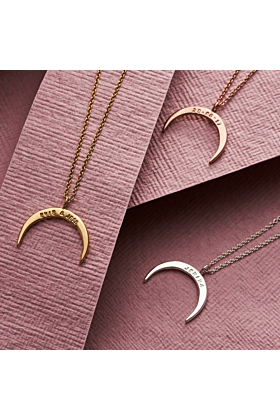 Personalised Crescent Horn Necklace Rose Gold Plated