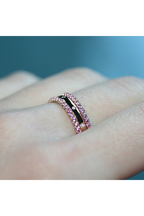 18kt Rose Gold & Pink Sapphire XV 3 Eternity Ring