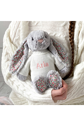 Personalised Jellycat Silver Blossom Bunny Soft Toy