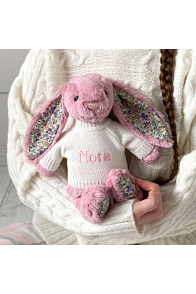 Personalised Jellycat Tulip Pink Blossom Bunny Soft Toy