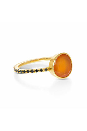 Clea Carnelian and Black Diamond Ring