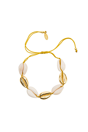 Yellow Gold Plated Multi Cowrie Shell Macrame Bracelet
