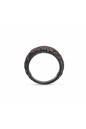 Black Rhodium Plated Silver Fiery Ascent Garnets Textured Band Ring