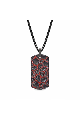 Black Rhodium Plated Silver Fiery Ascent Garnets Textured Tag