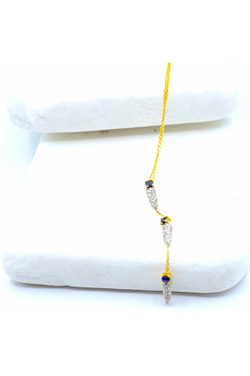 18kt Yellow Gold Dagger Diamond Sapphire Necklace