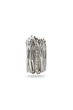 Sterling Silver Classic Argento Diamanti 13 Ring