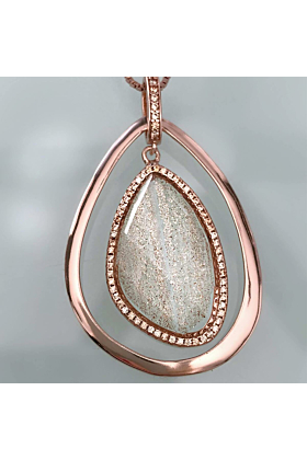Rose Gold Plated Abstract Halo Necklace With Clear Glass Stone