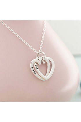 Personalised Interlinking Hearts Necklace Sterling Silver