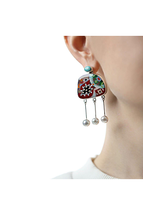 Sterling Silver Nature Fusion Earrings with Turquoise and Pearls