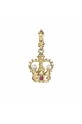 Crown Charm With Rubies And Pearls