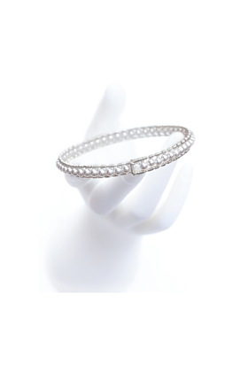 Sterling Silver White Pearl Girdle Bangle