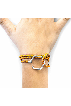 Fire Orange Storey Silver and Braided Leather Bracelet