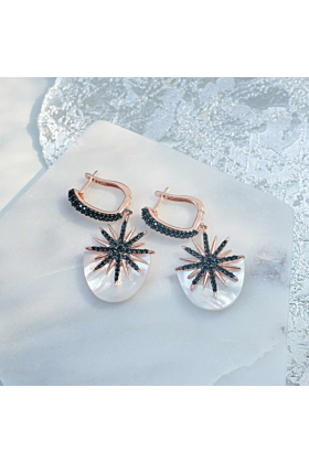 Rose Gold Plated Sunburst White Mother Of Pearl Earrings