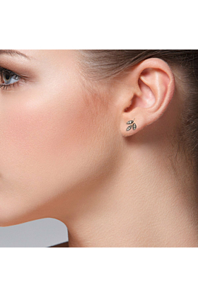 Diamond Rose Gold Leaf Stud Earring