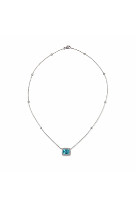 18kt White Gold Zircon and Diamond Necklace