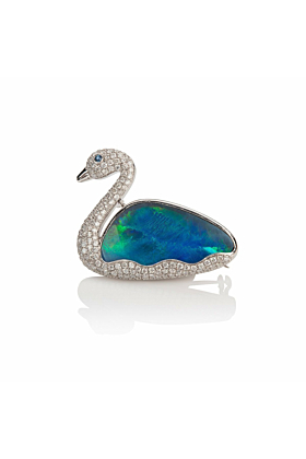 18kt White Gold Opal & Diamond Swan Brooch