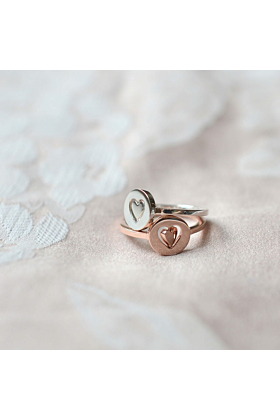 Rose Gold Plated Personalised Total Eclipse Heart Spinner Ring