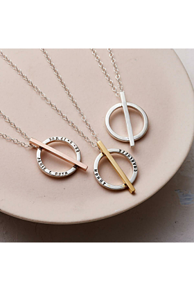 Personalised Circle Bar Necklace Rose Gold Plated