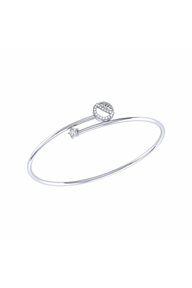 Sterling Silver Half Moon Star Bangle