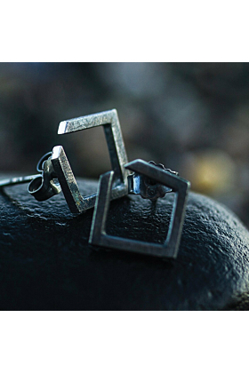 Square Oxidised Earrings