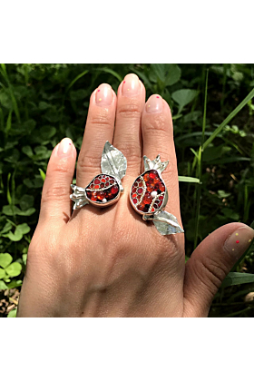 Sterling Silver, Cloisonné Enamel, & Melted Glass Ring With Two Pomegranates