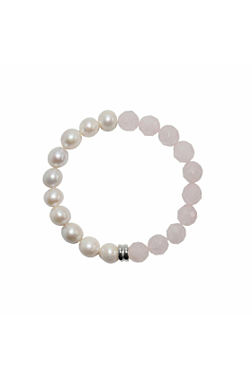 Sterling Silver Pearl & Rose Quartz Orbis Bracelet