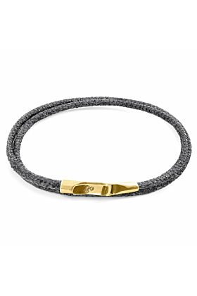 Shadow Grey Liverpool 9ct Yellow Gold and Stingray Leather Bracelet