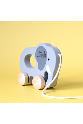 Personalised Push And Pull Elephant Wooden Toy