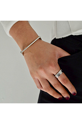 Sterling Silver Paved Stacking Ring