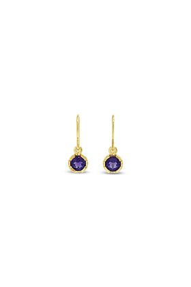 9kt Yellow Gold Violet Earrings With Amethyst