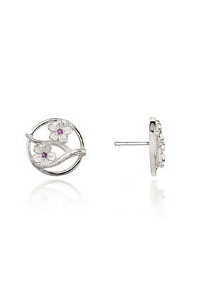 Silver Cherry Blossom Stud Earrings With Garnets