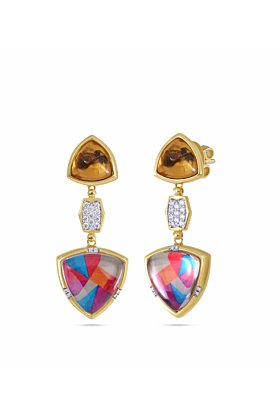 Yellow Gold Plated Silver Diamond & Citrine Colorful Canvas Earrings