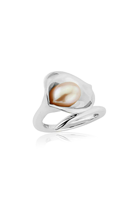Large Silver Lily Pearl Ring