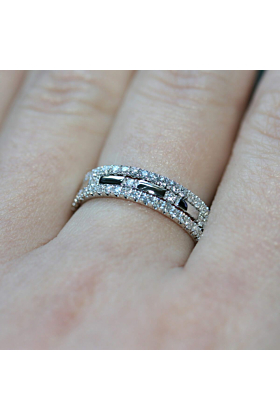 18kt White Gold Diamond XX 3-Ring Combination