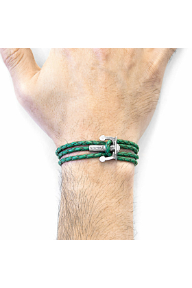 Fern Green Union Anchor Silver and Braided Leather Bracelet