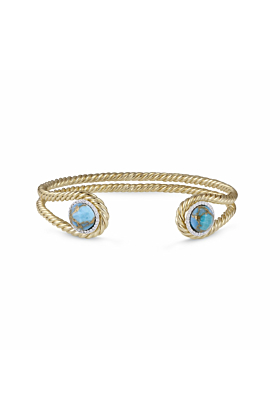 14kt Yellow Gold Plated Silver & Turquoise Glory of the Sun Cuff